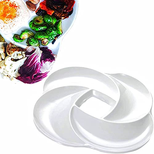 Ecology Reusable Non Disposable White Veggie Tray for Partys. Unbreakable Melamine Not Plastic. Appetizer Sectioned Platter. Vegetables and Fruits. Chip and Dip Serving Dish for entertaining.