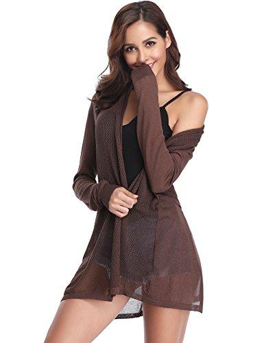 Abollria Damen Lang Cardigan Dünne Jacke mit Schalkragen Langarm Leichte Strickjacke Luftig