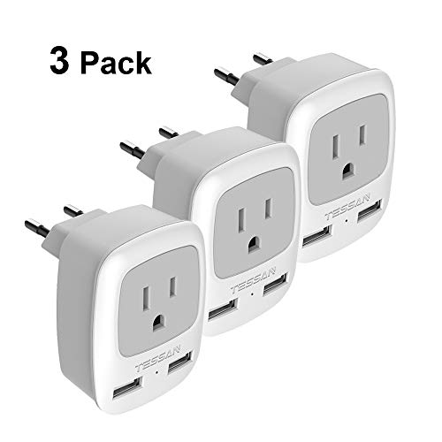 European Plug Adapter 3 Pack, TESSAN International Travel Power Adaptor 2 USB - Outlet Adapter Charger USA to Most of Europe EU Spain Iceland Italy Germany France (Type C)