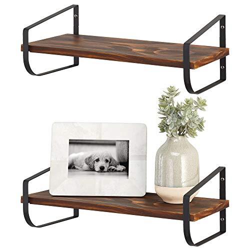 mDesign Moderna repisa de pared – Estante de madera estrecho con soporte de metal resistente a la corrosión – Balda flotante para baño, cocina, despacho, dormitorio, etc. – negro y natural