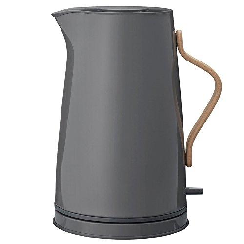 Stelton Wasserkocher Emma - Elektrischer Kocher - Kaffee- & Teekanne, skandinavisch - Filter, Trockenkoch-Sicherheitsschalter mit Abschaltung, Buchenholzgriff - 1,2 Liter, Grau, EU-Stecker