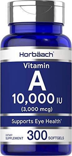 Horbaach Vitamin A 10000 IU (300 Softgels)   Premium Non-GMO, Gluten Free Supplement