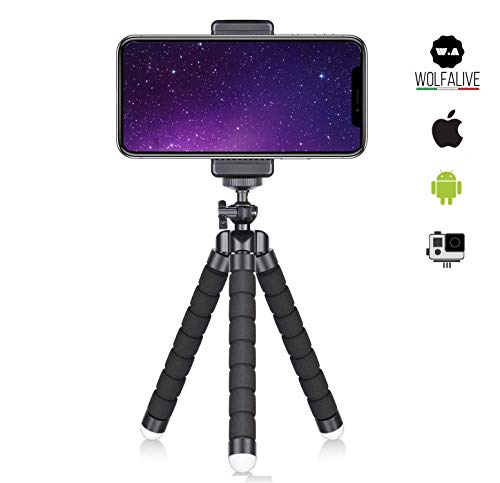 Treppiede Smartphone WolfAlive Universale per telefono e fotocamera, supporto per telefono cellulare e GoPro. Flessibile, Leggero, Snodabile, Portatile, Design di Alta qualit