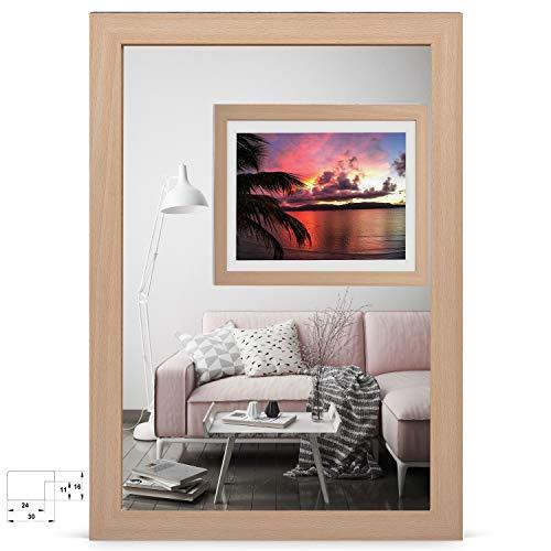 rahmengalerie24 Bilderrahmen 50x70 cm Rahmen buche Holz Acrylglas ohne Passepartout Portraitrahmen Fotorahmen Wechselrahmen für Foto oder Bilder MDF Dekorahmen ohne Bild Alice
