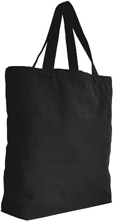 Aichva 16L Einkaufstasche Leinwand, groß, mit Tasche, schwarz
