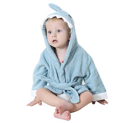 WYTbaby Baby Badetücher Mit Kapuze Jungen Mädchen Nachtwäsche Kleinkind Bademantel Mit Tier Entwurf 0-24 Monate,Blauer Hai