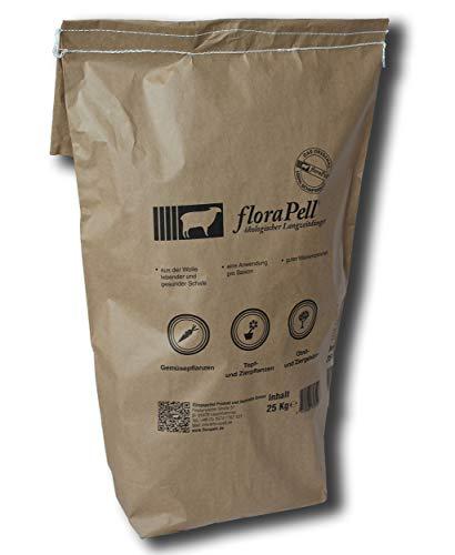 FloraPell® Bio Schafwollpellets Dünger für Haus, Garten & Zimmerpflanzen - Das Original aus 100% Schafwolle - Organischer Langzeitdünger für ideale Nährstoffversorgung (25kg)