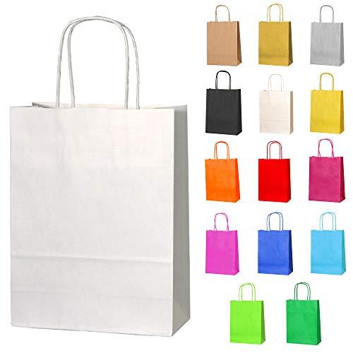 Thepaperbagstore 20 Petit Sacs en Papier avec Poignées Torsadées pour Cadeaux et Fêtes - Blanc - 180x220x80mm