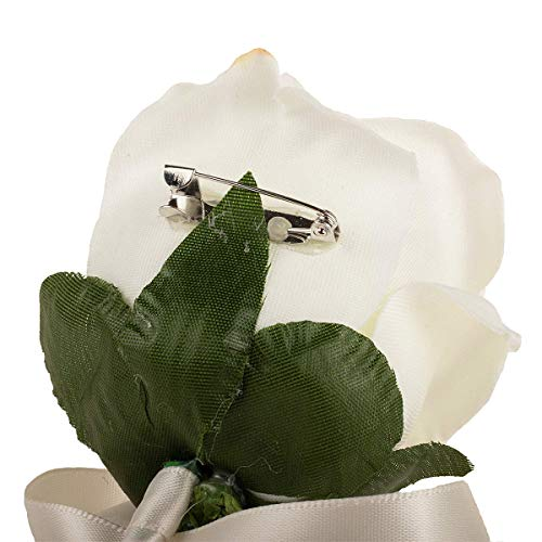 Aivanart 4Pcs Ivory Rose Boutonnieres Groom Flower for Wedding Party Prom Man Suit Decoration