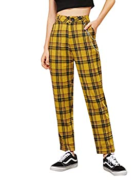 DIDK Women s Tartan Plaid Mid Waist Straight Pants Yellow Chained S