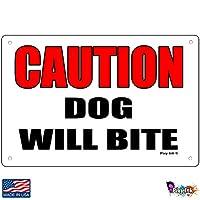 Caution Dog Will Bite メタルサイン セキュリティアラーム 保護警告 4x6 Inches