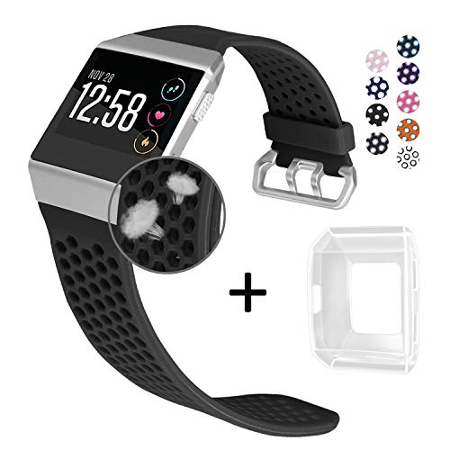 Jobese Compatible Fitbit Ionic Bands, Breathable Silicone Sports Bands with Crystal Protective Case Compatible Fitbit Ionic Smart Watch Soft Accessories Wristbands