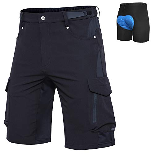 Ally Mens Mountain Bike Shorts Padded MTB Shorts Baggy Cycling Bicycle Bike Shorts with Padding Wear Relaxed Loose-fit Black