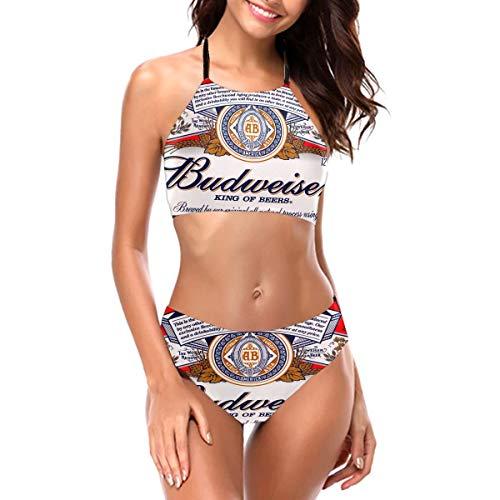 Budweiser Women's Bikini Mat Hollow Strapless Swimsuit Two Piece Swimsuit Black