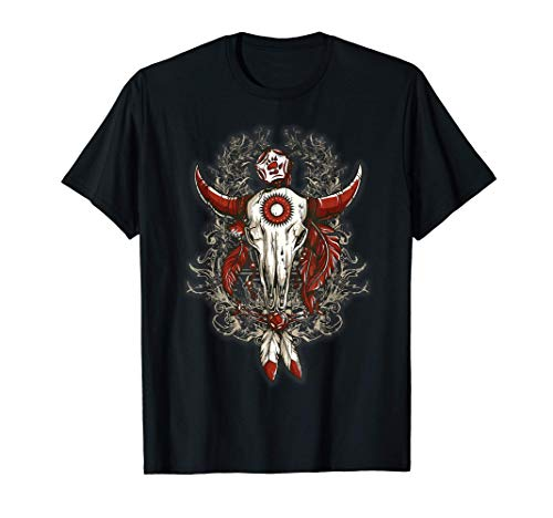 Bull Skull with Eagle Feathers First Nation Design T-Shirt