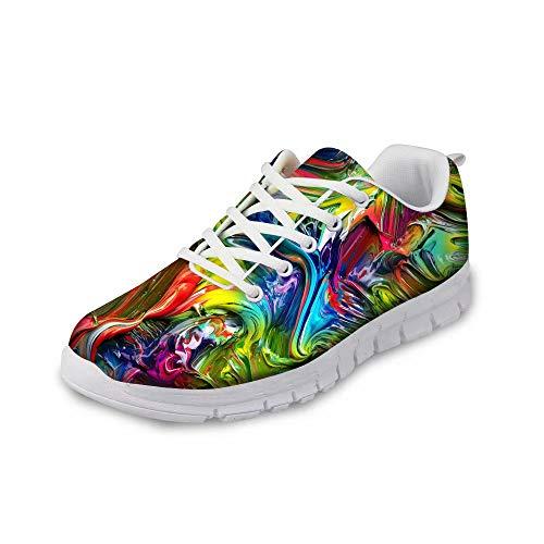POLERO Damen Sneaker atmungsaktive Schnürer Sportschuhe Mode Bunt Running Walking Sneakers für Frühling und Sommer 36-41 EU