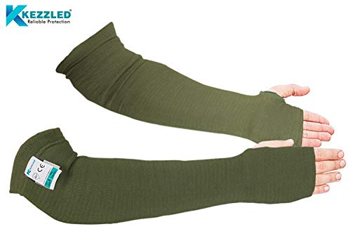 KEZZLED Kevlar Sleeves- Heat, Scratch & Cut Resistant Arm Sleeves with Thumb Holes- Arm Safety Sleeves- Long Arm Protectors- Flexible, Lightweight, Washable- 18 Inches, Sage Green, 1 Pair