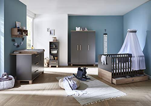 Arthur Berndt Cloe Babyzimmer Komplettset 7-tlg in grau/Eiche Sägerau für Jungen und Mädchen