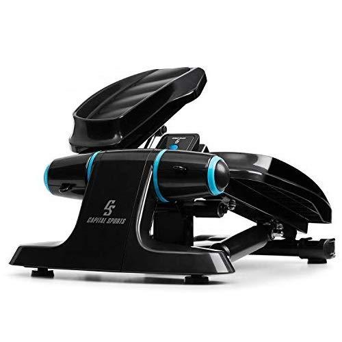 Capital Sports Galaxy Step - Ministepper, maximale Belastbarkeit: 120 kg, Premium-Trittflächen, Multifunktions-Computer mit LCD-Display, inkl. Power Ropes, hydraulisches Shock-Absorbing-System, blau