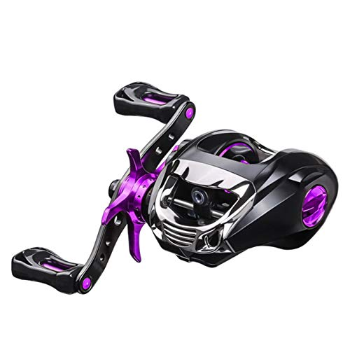 JKCKHA Baitcasting Reels, 6.3:1 Gear Ratio Super Smooth Fishing Reel, 12+1 Shielded Bearings, Magnetic and Centrifugal Force Double Brake System,Purple,Left Hand