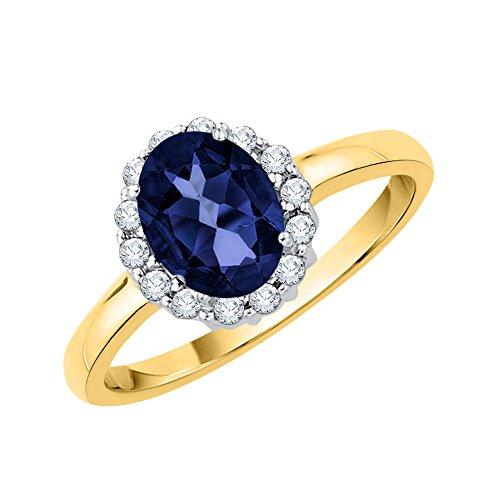 KATARINA Anillo de compromiso con halo de zafiro de talla ovalada y diamantes en oro de 14 k (1 3/4 cttw, J-K, SI2-I1)