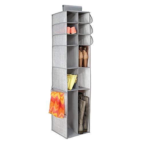 mDesign Zapatero de tela para colgar en el armario – Armario de tela para guardar zapatos, botas, bolsos, etc.– Estantería colgante para organizar calzado y accesorios con 16 estantes – gris