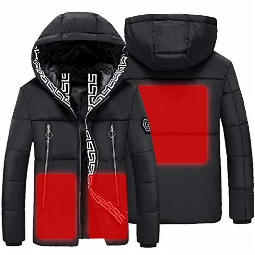 Yeah-hhi Chaqueta térmica con 3 áreas, control de temperatura para invierno, exterior suave, para deportes al aire libre, color negro, L