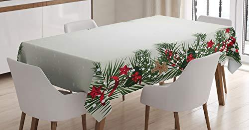 ABAKUHAUS Navidad Mantele, Baya, Resistente al Agua Lavable Colores No Destiñen Personalizado, 140 x 200 cm, Multicolor