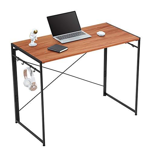 Yifeel Escritorio de ordenador de 100 cm, escritorio de oficina en casa, mesa de oficina con 8 bonos, escritorio de trabajo plegable, escritorio de PC, nogal UFCD007BB
