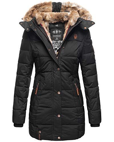 Marikoo Damen Winter Jacke Stepp Parka Mantel Kunstfell warm gefüttert Nekoo XS-XXL (M, Schwarz in Lang)
