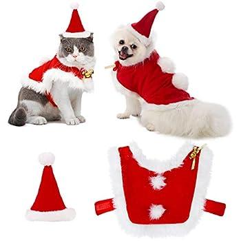 Outgeek Robe Noel Chat, Santa Ajustable pour Animaux de Compagnie Cape Cat Vêtements de Père Noël avec des Tenues de Noël pour Cloches pour Chiens et Cadeaux Doux pour Chat