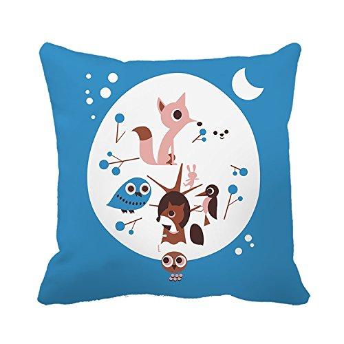 Warrantyll Couvre-lit Taie d'oreiller Fox Lune Nuit Taie d'oreiller Maison Canapé Coussin décoratif, Coton, #Color 1, 18*18