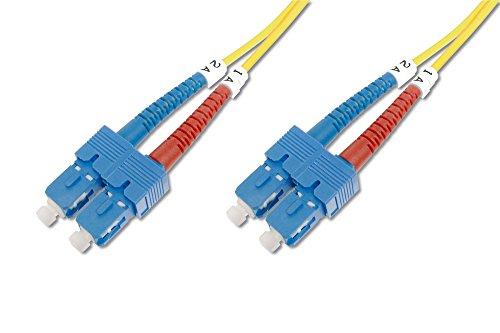 DIGITUS LWL Patch-Kabel OS2 - 1 m SC auf SC Glasfaser-Kabel - LSZH - Duplex Singlemode 09/125µ - 10 GBit/s - Gelb