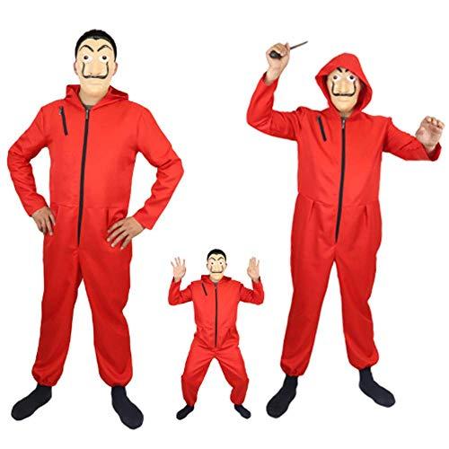 ZHANGXX Kostuum Huis Papier Film Halloween Cospaly Kostuum La Casa De Papel Kids Salvador Dali Film Kostuum Voor Volwassenen Geld Heist Het Huis Van Papier Pak