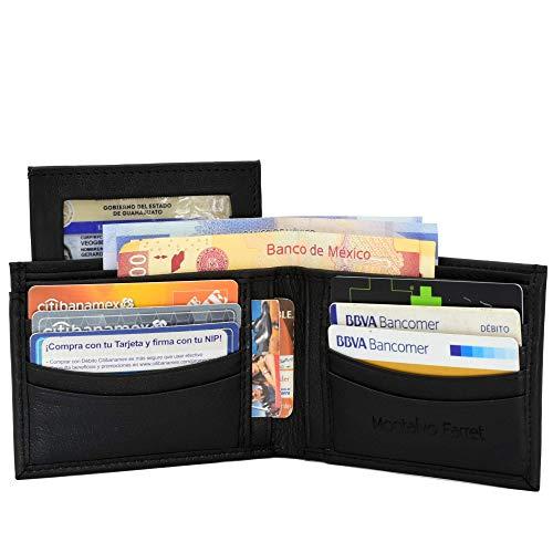 Billetera de Piel Genuina MF254 Cartera de Hombre con Tarjetero Color Negro