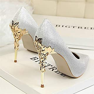 Newest Fresh Women Pumps Heels Sexy High Heels Comfortable Shoes Women Wedding Shoes Pumps Ladies Shoes Gold Silver Woman Thin Heel High Heel Shoes(8.5,Grey)