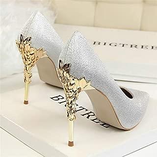 Newest Fresh Women Pumps Heels Sexy High Heels Comfortable Shoes Women Wedding Shoes Pumps Ladies Shoes Gold Silver Woman Thin Heel High Heel Shoes(8.5,Grey)