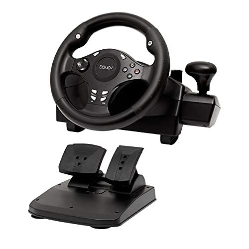 Gaming Lenkrad, Racing Wheel , Gaming Rennlenkrad 270° Lenkbereich für PC / PS3 / PS4 / XBOX ONE / XBOX 360 / Nintendo Switch / Android mit Pedalen für Gas und Bremse