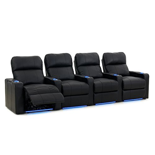 Octane Turbo XL700 Row of 4 Seats, Straight Row in Black Leather with Power Recline