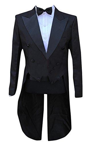 Enteriza タキシード 燕尾服 メンズ ダブルボタン パンツ ベルト ボータイ付き 4点セット スーツ 上下セット サテン 無地 ショールカラー フォーマル (S, ブラック)