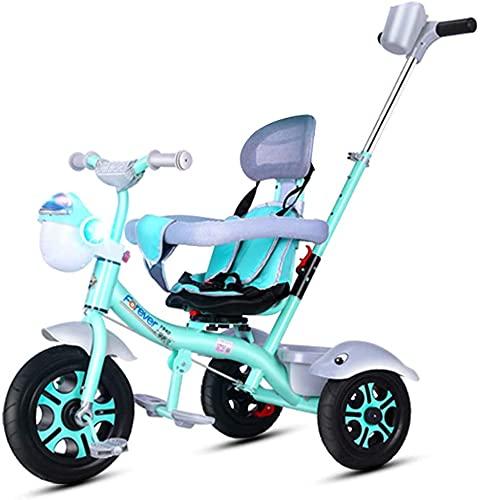 Triciclo ligero para niños y niños de 1 a 5 años, truco de pedal de 3 ruedas con neumáticos sin inflar, cesta de almacenamiento, marco de acero, sin toldo, blanco (color verde)