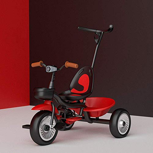 Triciclo Trike Niños-Ride en el triciclo for niños, 2 en 1 Trike Pedal Cars niño for 2-6 años de edad chicos chicas carretilla niño Scooters, Volver Almacenamiento / manija extraíble de Padres / neumá