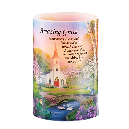 Collections Etc Realistic Amazing Grace LED Flameless Candle Light Accent - Beautiful Church Scene for Home Decor
