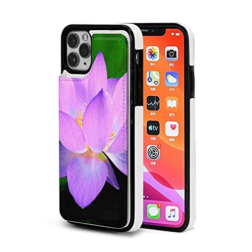 XIANGYANG Custodia per cellulare con slot per schede in pelle,fiore di loto viola in custodia per iPhone 11 Pro 5.8 Custodia con porta carte per donna Custodia per portafoglio carino