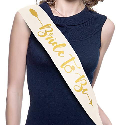 Bachelorettesy Banda para novia (flecha de oro blanco satinado)