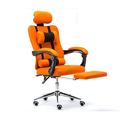 LYQQQQ Silla Malla del Ordenador Encajes Silla de Oficina de Mentira y el Levantamiento de Personal Sillón con reposapiés envío (Color : Orange with footrest)