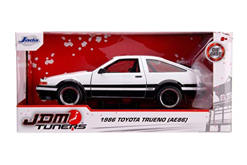 1986 Toyota Trueno (AE86) RHD (Right Hand Drive) White and Black JDM Tuners 1/24 Diecast Model Car by Jada 31602