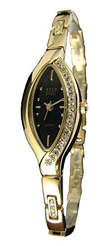 OSCO Edelstahl Damen-Armbanduhr mit Steinen 4059 (schwarz/Gold)