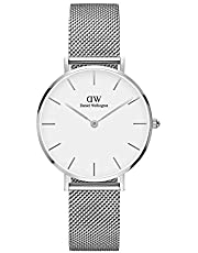Daniel Wellington Petite Melrose, orologio da donna, 32 mm, mesh, colore: argento/argento