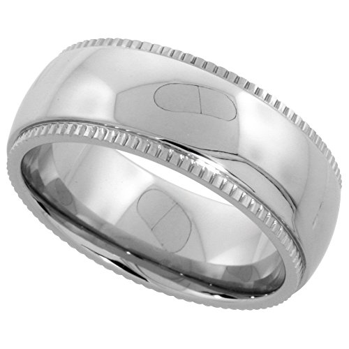 Surgical Stainless Steel Milgrain Wedding Band/Thumb Ring 8mm Domed Polished Comfort-fit, Size 11